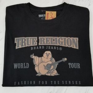 True Religion Mens T-Shirt Graphic Tee Black New